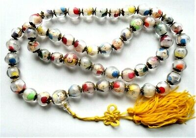 Antique Chinese Sages Mini Portraits Reverse Painting Glass Bead Prayer Necklace