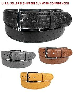 MEN FAUX OSTRICH SKIN GENUINE LEATHER STITCHED BELT w BELT BUCKLE - SIZE M L XL