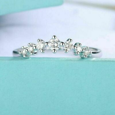 Certified 1.20Ct Curve Round Cut Diamond Eternity Engagement Ring 14k White Gold