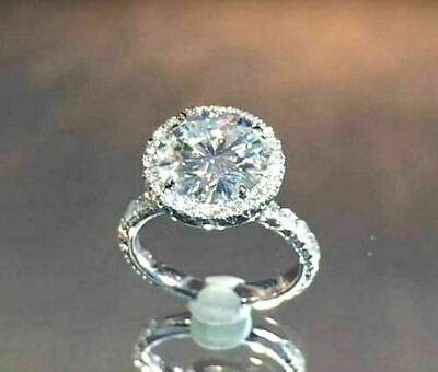 Certified 3Ct Lovely Round-Cut Diamond Promise Engagement Ring 14K White Gold