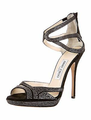 cae080920c Jimmy Choo Black Suede Rhinestone Pumps Size 8.5 / 38.5 Authentic - $875