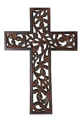 12 Inch Wooden Carved Wall Hanging Cross Handmade Unique Home Church Wall Decor