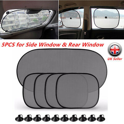 5PCS Baby Car Window Sun Shades Stopper Black Mesh Blinds Visor Shield Cover Dog