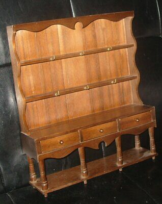 Vintage Wooden Miniature Model Irish or Welsh Dresser Display Cabinet
