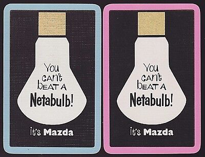 2 Single VINTAGE Swap/Playing Cards ADV MAZDA LAMPS NETABULB GLOBE Blue/Pink