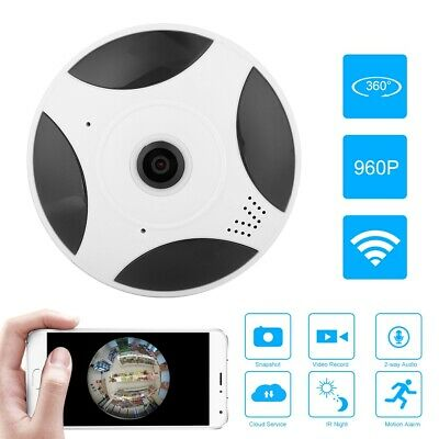 Telecamera IP Camera Fisheye 360° Panoramica 2MP HD 1080P Wifi Wireless LED IR