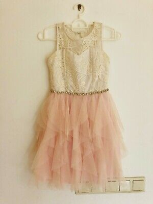 dress kids girl white pink fancy special occasion rare editions 12 years party