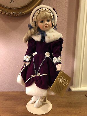Franklin Heirloom Doll - Margaret Lynn - Christmas Child Girl - RARE BURGUNDY