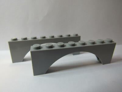 4x Lego Arch 1 x 12 Light Stone Gray 70010 Castle Bridge