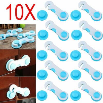 10PCS Baby Kids Box Drawer Cabinet Cupboard Wardrobe Door Fridge Safety Lock USA