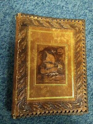 Vintage Leather Book Cover with ship design
