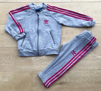 Adidas Originals Age 6-9-12-18 Months Tracksuit Leggings Set Outfit Baby Girls