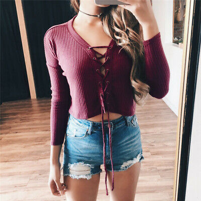 Women Sexy Casual Tops Pit Tie Front Long Sleeve Casual Shirt Top ONE