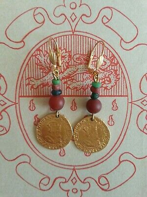 Earrings replica James I coins + Roman glass, garnet beads re-enactments 17th C