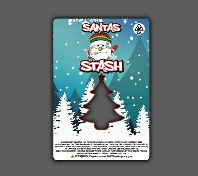 10x Santa's Stash Christmas Mylar Bag Cali Labels Tins