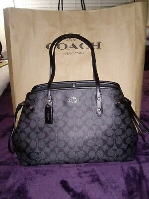 db49ab57b Authentic Coach Drawstring Carryall in Signature Canvas F57842, Black/gray