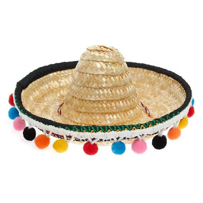 Mexican Sombrero Pet Party Hat Costume Small Pet Dog Puppy Halloween 100% Straw
