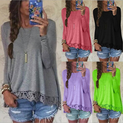 Detail Loose Lace Long Round S-5XL Blouse Women Tops Sleeve Shirt Neck