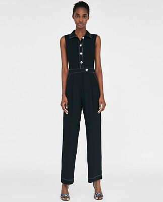 591fd6e6014 Zara Black Sleeveless Jumpsuit With Contrasting Topstitching And Buttons M