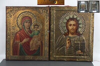 Pair Jako Icon Mother of God Smolenskaya Jesus Christ Russian Empire metal
