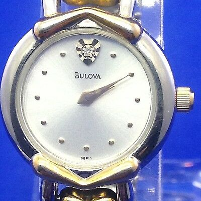 BULOVA Women's Watch Silver Dial Gold/Silver Tone Case and Strap New Battery