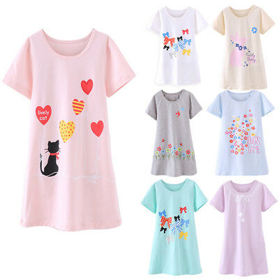 Girls Kids Pyjamas Nightwear Cotton flowers Night Dress Nightgown Sleepwear