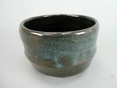 Japanese Tea Ceremony Bowl Vtg Pottery Chawan Blue Black Matcha Ceramic GTB228
