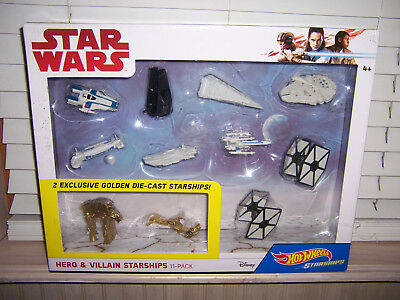Hot Wheels 11 Pack Starships Star Wars Hero Villain  2 Exclusive Golden Die-Cast