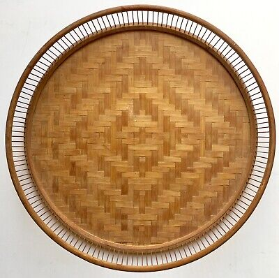 Vintage Mid Century c1960s Woven Reed & Wood Bar Serving Drink Tray Japan Made