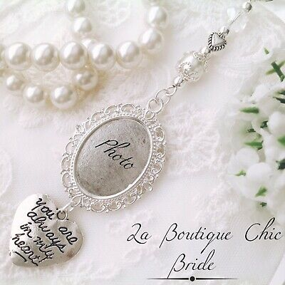 Lovely bridal bouquet photo frame memory memorial charm, bride, wedding gift hen