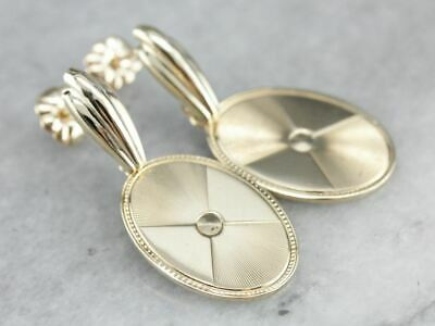 Yellow Gold Cufflink Drop Earrings
