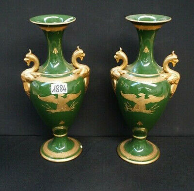 PAIR french antique porcelain Napoleon Eagle Green insects dragon gothic vases