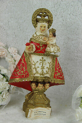 Rare Antique French chalkware MAdonna statue de COVADONGA Spanish putti angels