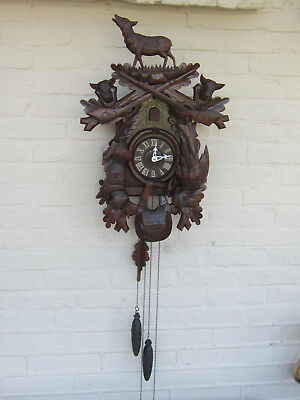 Vintage german cuckoo Wood carved black forest hunt theme Clock wall