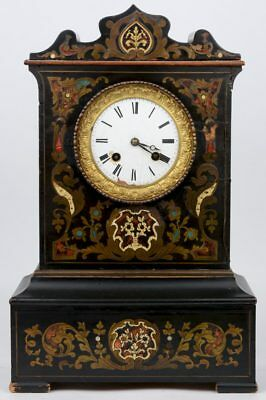Antique French NAPOLEON III mantel clock inlaid 1880