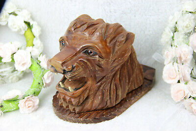 Vintage Mid century Wood carved lion panther head cigarettes cigar cave box