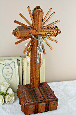 French antique crucifix wood tramp art 1945 hand made cross christ religious