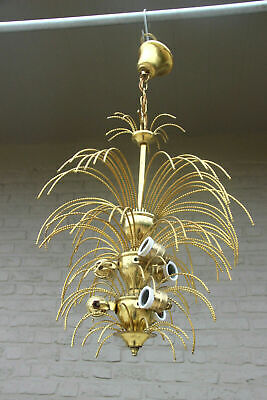 Mid century 1960 brass metal  maison jansen era palm tree chandelier pendant 70s
