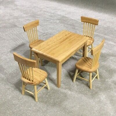 Dolls House Miniature Furniture Dining Room Table 4 Chair set Kitchen Decor 1:12