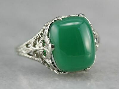 Art Deco Green Onyx Ostby and Barton Ring