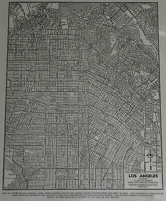 Vintage 1944 Nice World War WWII Atlas City Map Los Angeles California CA LA OLD
