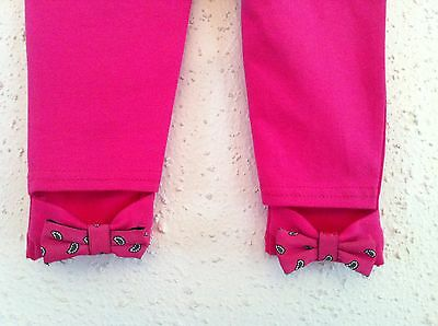 Ralph Lauren Girls Leggings Solid Hot Pink w Paisley Bows Size L (12-14) NWT