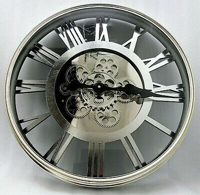 Large Skeleton Wall Clock Antique Shabby Chic Round Light Gold Silver Mirror