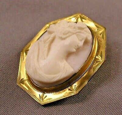 Antique Victorian Gold Filled & Carved Pink Shell Classical Lady Cameo
