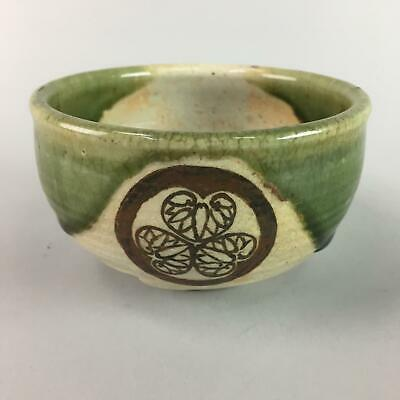 Japanese Oribe ware Ceramic Tea Ceremony Bowl Vtg Pottery Chawan Crest GTB484