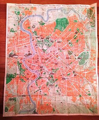 "Vintage Foldable Nolli Map Of Rome (""New Plan Of Rome, 1748)- Circa 1958 Reprod."