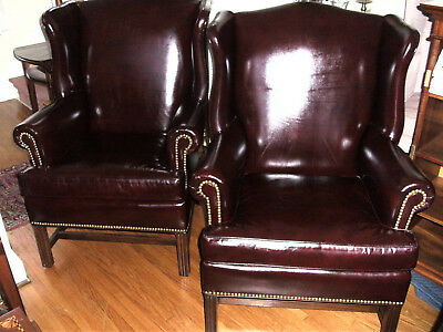 Pair of Hancock & Moore Leather Wing Back Chairs