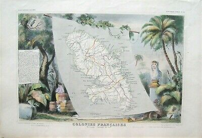 Levasseur Antique Steel Engraved Map Of Martinique: Paris, 1850: West Indies