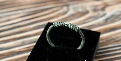 "Ancient Viking 9th-11th AD Bronze Twisted Ring with ""Knot"" Bezel Authentic"