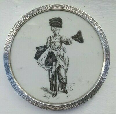925 silver coaster wi Victorian inset plaque of tricorn hat-seller